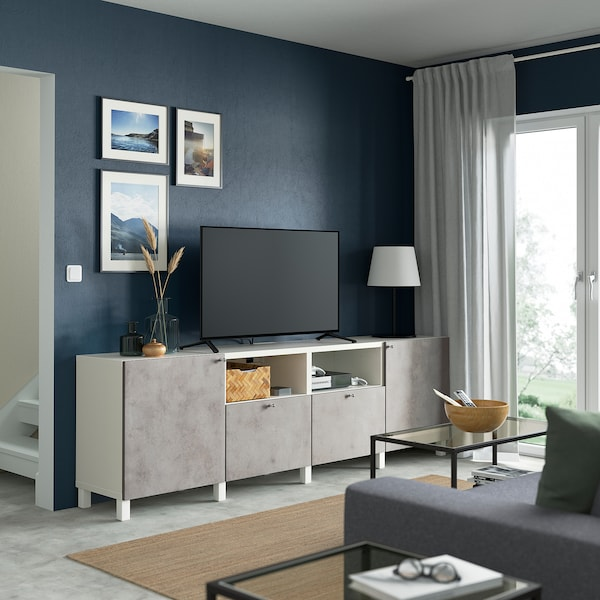 BESTÅ TV-állvány ajtókkal, fiókokkal, fehér/Kallviken/Stubbarp világosszürke, 240x42x74 cm