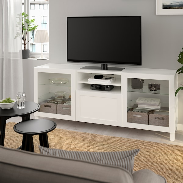 BESTÅ TV-állvány+f, fehér/Hanviken/Stubbarp fehér üveg, 180x42x74 cm