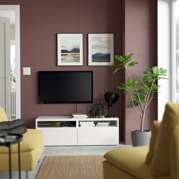 BESTÅ TV-állvány+f, fehér/Selsviken mfényű feh., 120x42x39 cm