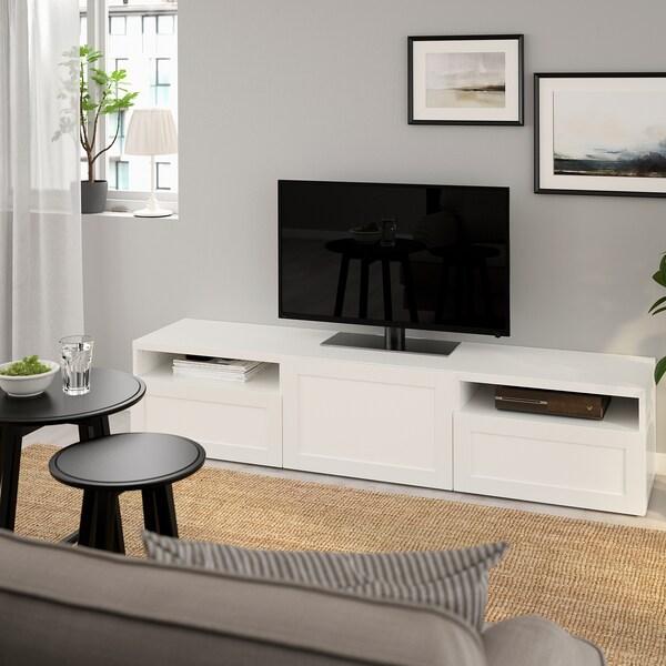 BESTÅ TV-állvány, fehér/Hanviken fehér, 180x42x39 cm