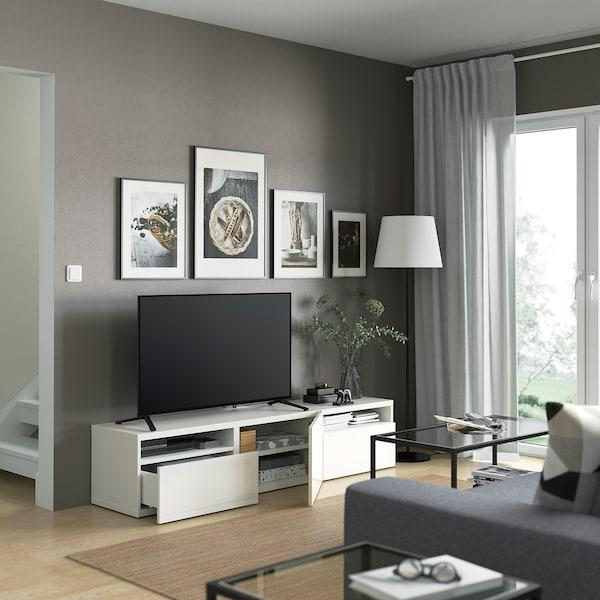 BESTÅ TV-állvány, fehér/Selsviken mfényű feh., 180x42x39 cm
