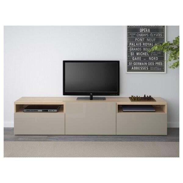 BESTÅ TV-állvány, fehérre pácolt tölgy hatás/Selsviken magasfényű bézs, 180x42x39 cm