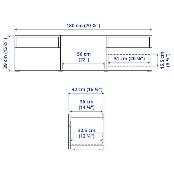 BESTÅ TV-állvány, fehérre pácolt tölgy hatás/Selsviken mfényű feh., 180x42x39 cm