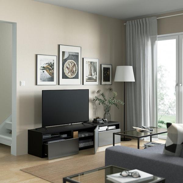 BESTÅ TV szekrény fiókokkal és ajtóval, fekete-barna/Riksviken csiszolt sötét ón hatású, 180x42x39 cm