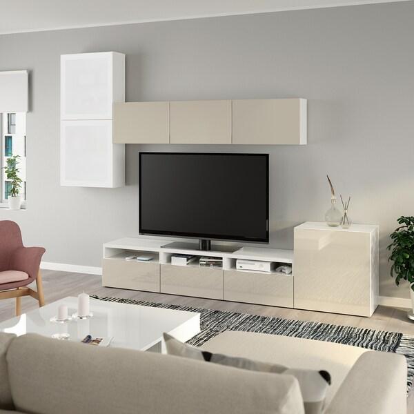 BESTÅ TV tár komb/üvajt, fehér/Selsviken magasfényű/bézs opálüveg, 300x42x211 cm