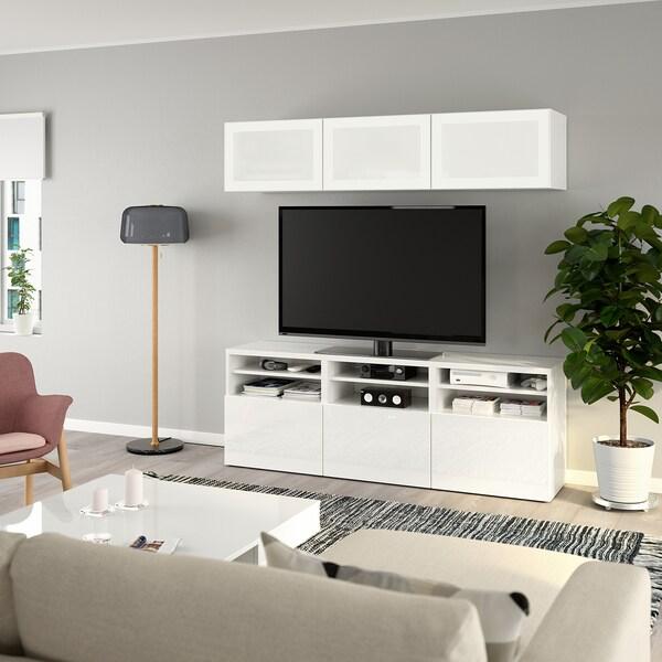 BESTÅ TV tár komb/üvajt, fehér/Selsviken magasfényű fehér/tejüveg, 180x40x192 cm