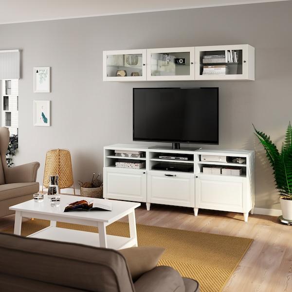 BESTÅ TV tár komb/üvajt, fehér Smeviken/Ostvik fehér üveg, 180x42x192 cm