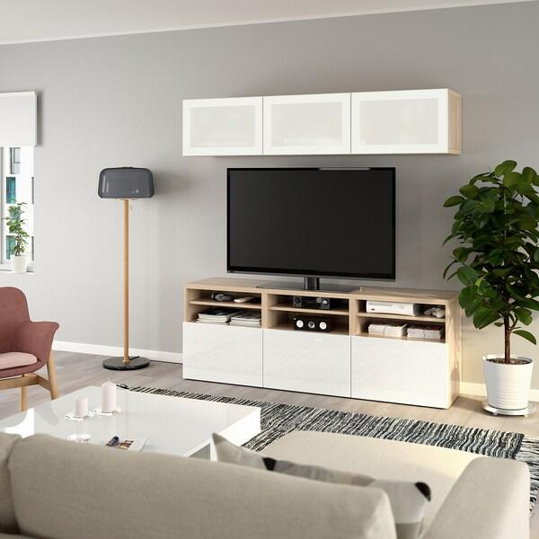 BESTÅ TV tár komb/üvajt, fehérre pácolt tölgy hatás/Selsviken magasfényű fehér/tejüveg, 180x40x192 cm