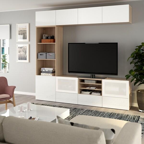 BESTÅ TV tár komb/üvajt, fehérre pácolt tölgy hatás/Selsviken magasfényű fehér/tejüveg, 240x40x230 cm