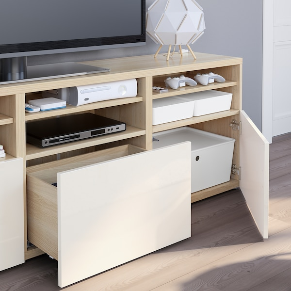 BESTÅ TV tár komb/üvajt, fehérre pácolt tölgy hatás/Selsviken magasfényű fehér/üveg, 180x40x192 cm