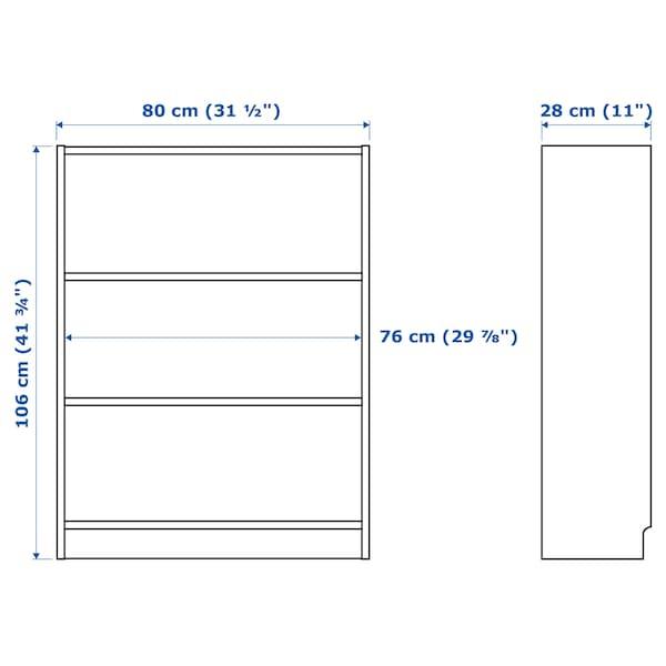 BILLY Könyvespolc, fehérre pácolt tölgy furnér, 80x28x106 cm