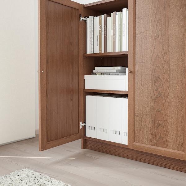 BILLY / OXBERG Könyvespolc+ajtó, barna kőris furnér, 80x30x106 cm