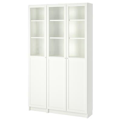 BILLY / OXBERG Könyvszek+panel+üvegajtók, fehér/üveg, 120x30x202 cm
