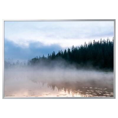 BJÖRKSTA kép kerettel Köd/alumínium színű 200 cm 140 cm