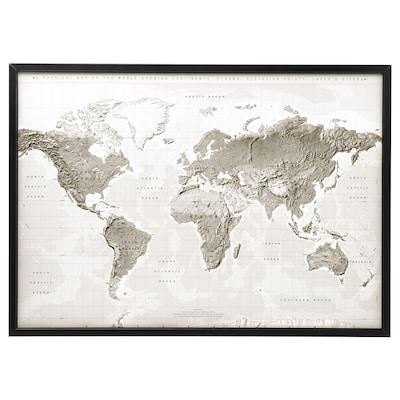 BJÖRKSTA kép kerettel föld bolygó szür/feh/fekete 140 cm 100 cm