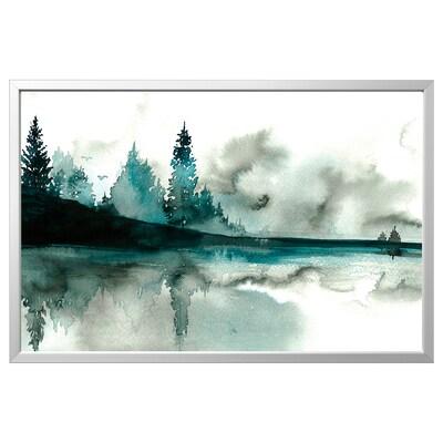 BJÖRKSTA kép kerettel Vízfesték/alumínium színű 78 cm 118 cm
