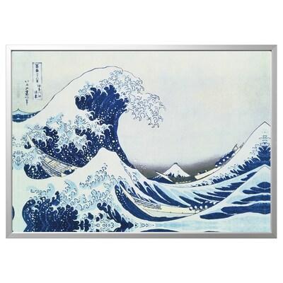 BJÖRKSTA kép kerettel Japán hullám/alumínium színű 140 cm 100 cm