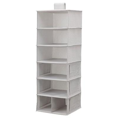 BLÄDDRARE Akasztós tároló,7rekesszel, szürke/mintázott, 30x30x90 cm
