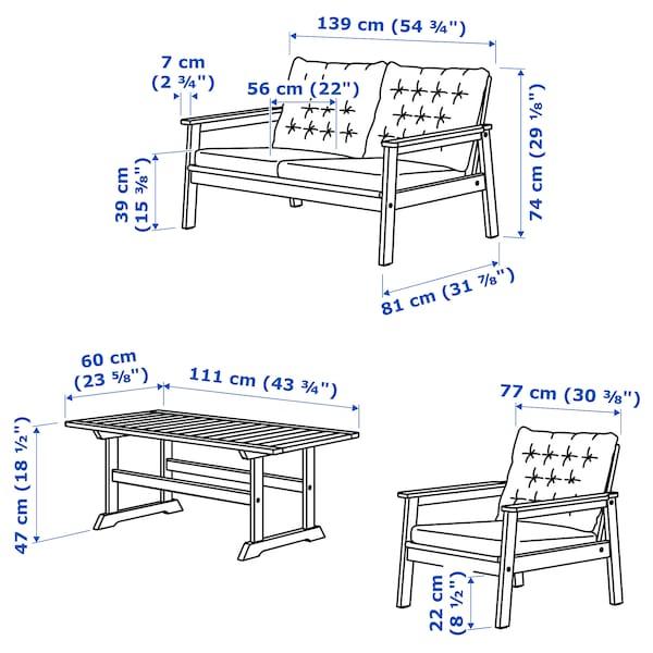 BONDHOLMEN 4 sz. bútorkészlet, kültéri, szürke pácolt/Kuddarna szürke