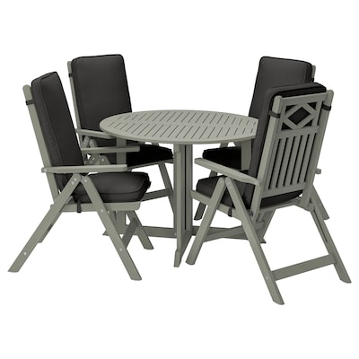 BONDHOLMEN Asztal+4 áll szék, kültéri, szürke pácolt/Järpön/Duvholmen antracit