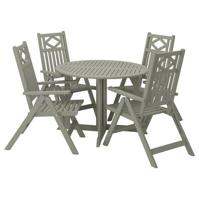 BONDHOLMEN Asztal+4 áll szék, kültéri, szürke pácolt