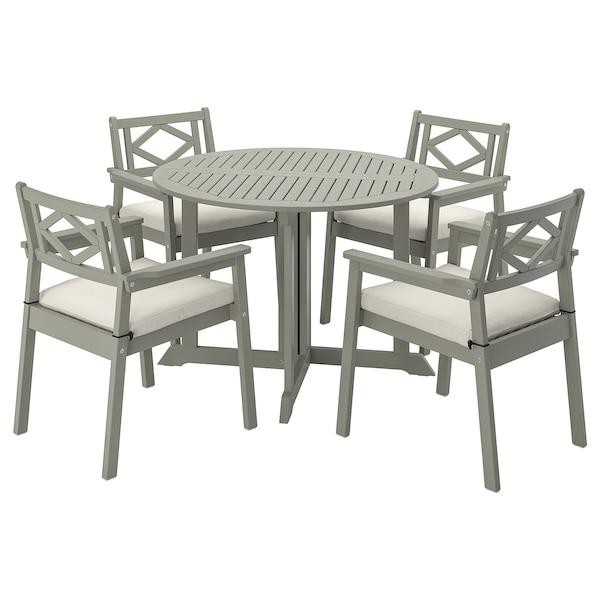 BONDHOLMEN Asztal+4 karfás szék, kültéri, szürke pácolt/Frösön/Duvholmen bézs