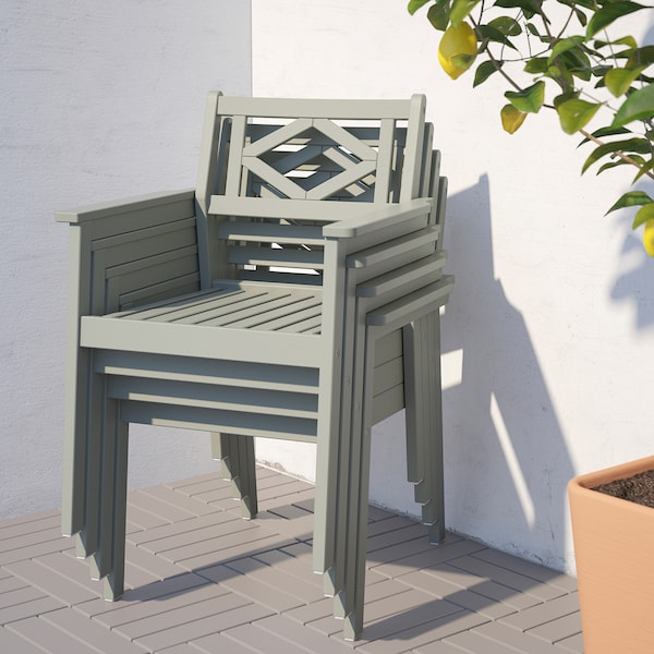 BONDHOLMEN Asztal+4 karfás szék, kültéri, szürke pácolt/Kuddarna szürke