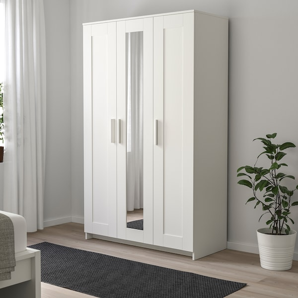 BRIMNES 3 ajtós gardrób, fehér, 117x190 cm