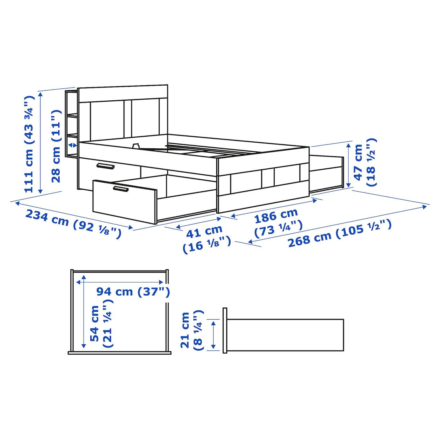 Brimnes Agykeret Taroloval Es Fejveggel Feher 180x200 Cm Ikea