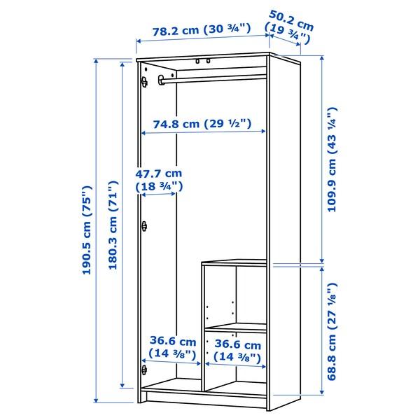 BRIMNES Gardróbszekrény 2 ajtóval, fehér, 78x190 cm