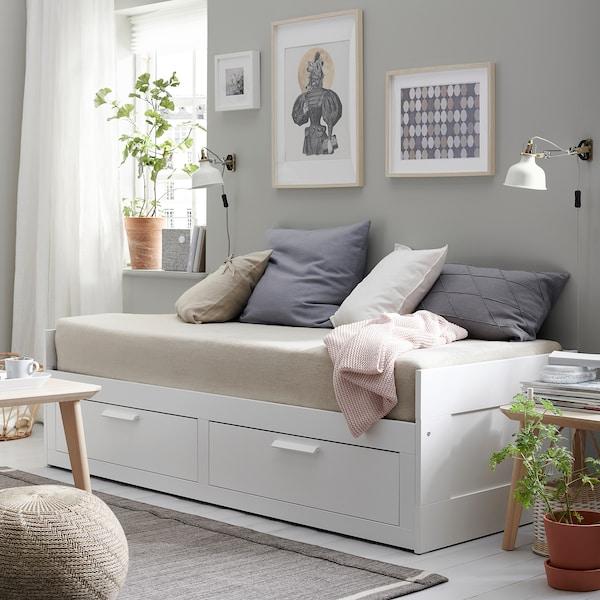 BRIMNES Kanapéágy 2 fiókkal,2 matraccal, fehér/Moshult kemény, 80x200 cm
