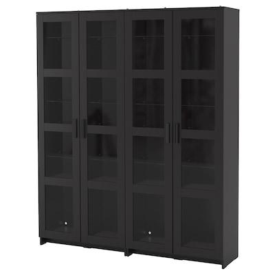 BRIMNES Tárolókombináció üvegajtókkal, fekete, 160x35x190 cm