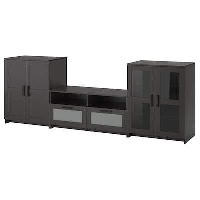 BRIMNES TV tár komb/üvajt, fekete, 276x41x95 cm