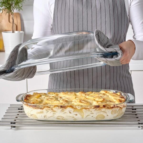 BUREN sütő/tálalótál tetővel átlátszó üveg 42 cm 26 cm 16 cm