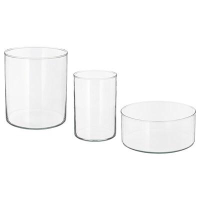 CYLINDER Váza/tál, 3 részes szett, átlátszó üveg