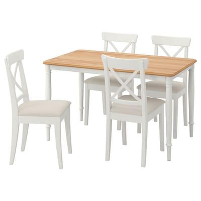 DANDERYD / INGOLF Asztal és 4 szék, tölgy furnér fehér/Hallarp bézs, 130x80 cm