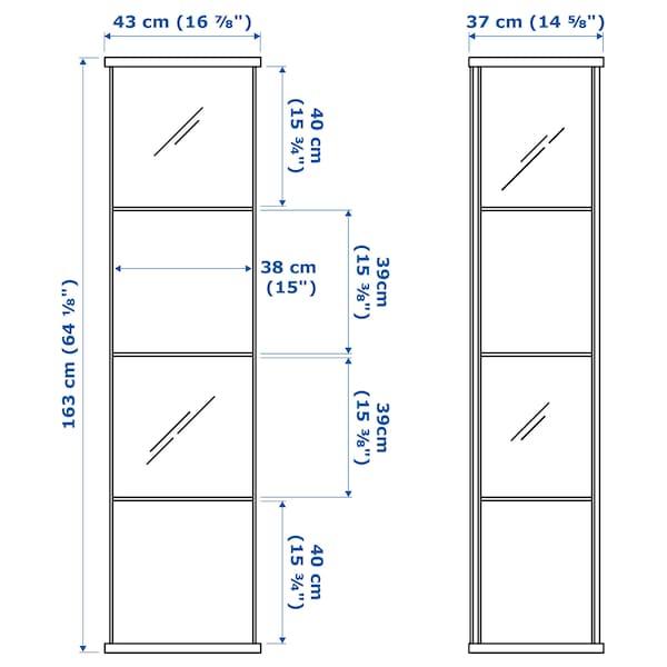 DETOLF Üvegajtós szekrény, fehér, 43x163 cm