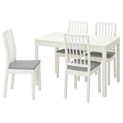 EKEDALEN / EKEDALEN asztal és 4 szék fehér/Orrsta világosszürke 120 cm 180 cm