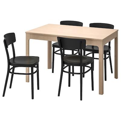 EKEDALEN / IDOLF asztal és 4 szék nyír/fekete 120 cm 180 cm