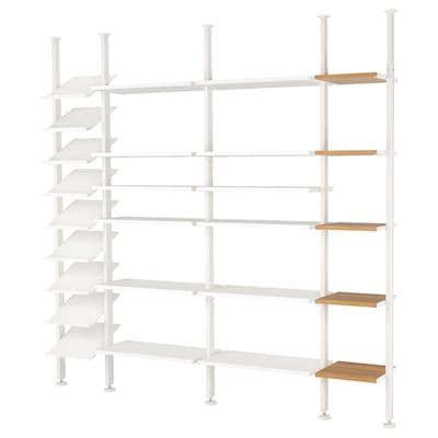 ELVARLI 4 rész, fehér/bambusz, 262x36x222-350 cm