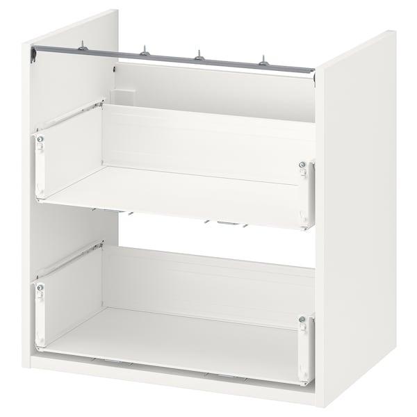 ENHET Alsószekrény mosdóhoz, 2 fiókkal, fehér, 60x40x60 cm