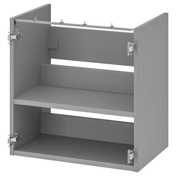 ENHET Alsószekrény mosdóhoz polccal, szürke, 60x40x60 cm