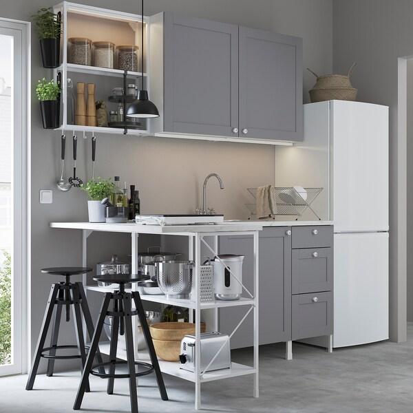 ENHET Sarok konyha, fehér/szürke ,