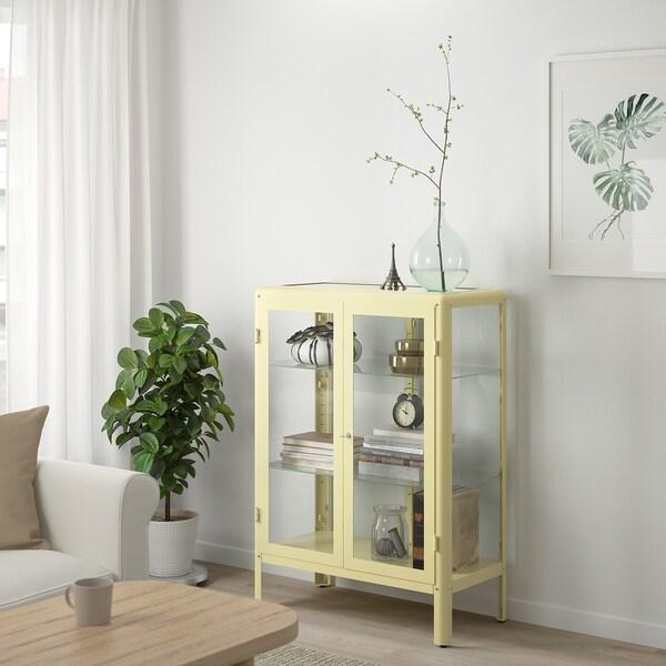 FABRIKÖR Üvegajtós szekrény, világos sárga, 81x113 cm