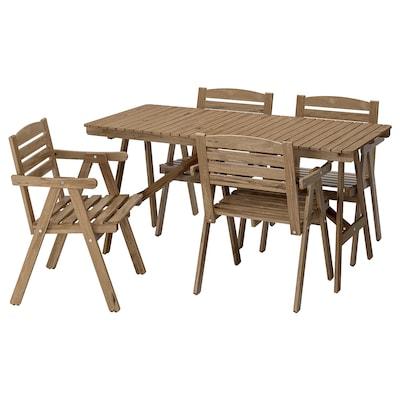 FALHOLMEN asztal+4 karfás szék, kültéri világos barnára pácolt