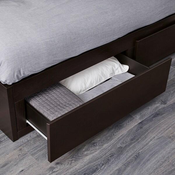 FLEKKE Kanapéágy 2 fiókkal,2 matraccal, fekete-barna/Malfors közepesen kemény, 80x200 cm