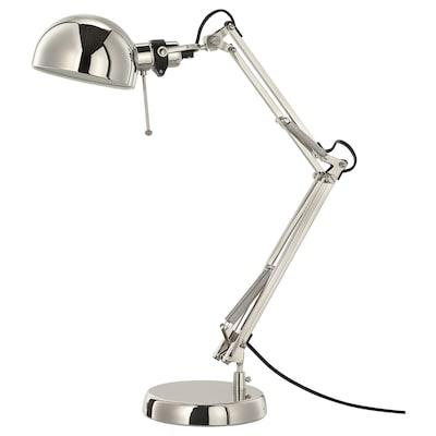 FORSÅ asztali lámpa nikkelezett 40 W 35 cm 15 cm 12 cm 1.8 m