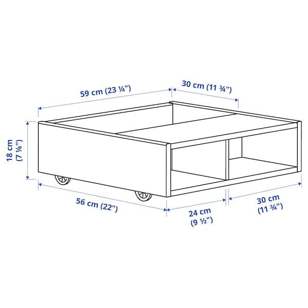 FREDVANG Ágy alatti tároló/éjjeliszekrény, fehér, 59x56 cm