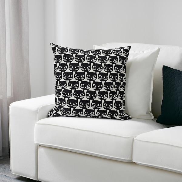 GERDIE Díszpárna, fehér/fekete macska, 40x40 cm