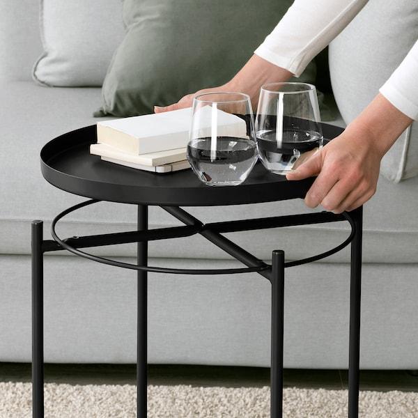 GLADOM Tálca-asztal, fekete, 45x53 cm